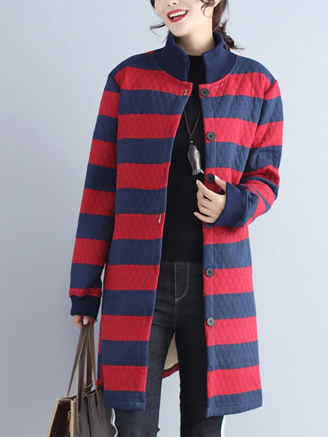 Casual Striped Stand Collar Long Coats For Women
