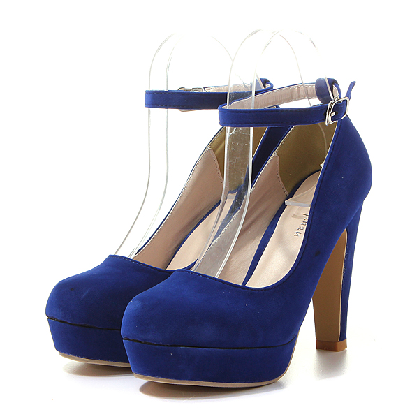 Suede Ankle Buckle Strap High Heel Platform Pumps Shoes