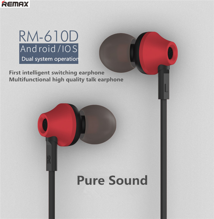 REMAX Brand RM-610D Stereo In-ear Earphone Headphone With Mic