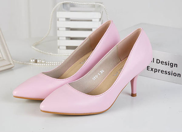 Candy Colors Women OL Shallow Mouth Pointed Toe Thin Heel Pumps