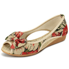 Women Flats Casual Flax Flower Outdoor Piscine Mouth Shoes Soft Sandals Flat Loafers Shoes