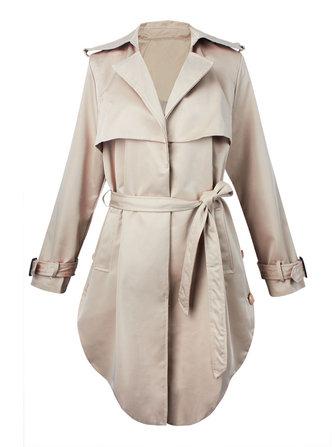 Women's Trench Coats Lapel Turn Down Collar Windbreaker Jackets