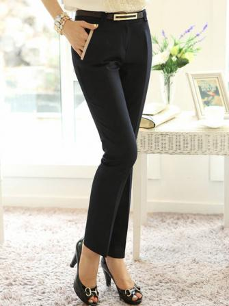 Women Elegant Solid Slim Mid Waist OL Trousers Pants With Belt