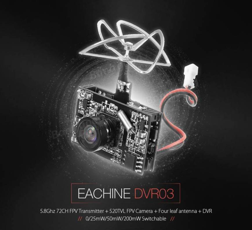 Eachine DVR03 DVR AIO 5.8G 72CH 0/25mW/50mW/200mW Switchable VTX 520TVL 1/4 Cmos FPV Camera