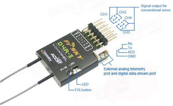 FrSky D4R-II 2.4G 4CH ACCST Telemetry Receiver