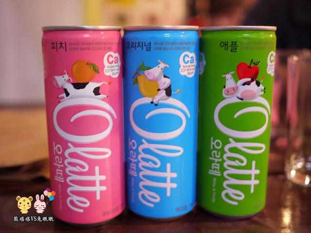olatte調味乳(水蜜桃/蘋果/水梨)。朴大哥的韓式炸雞