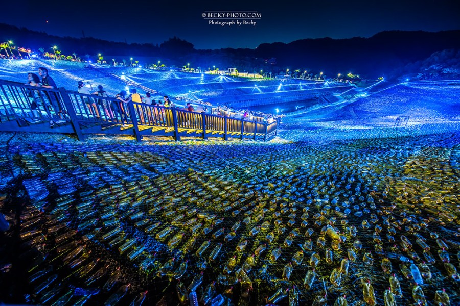 【台北】。基隆夜景攝影『梵谷的星空草原』!四百萬支寶特瓶地景藝術