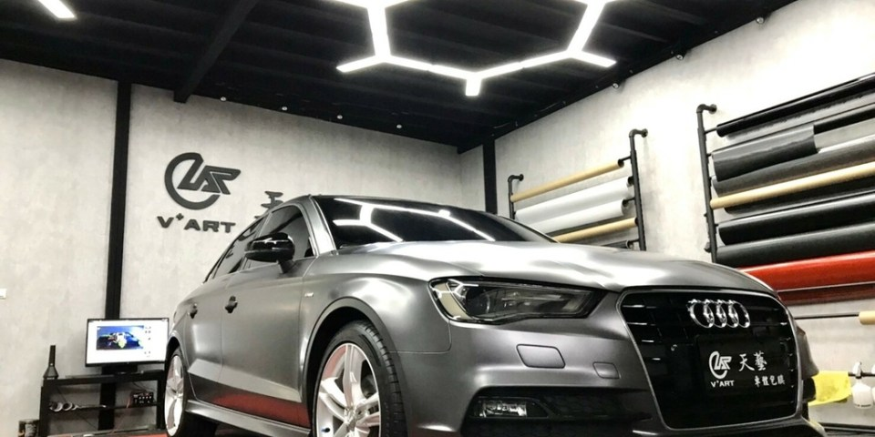 【台中汽車包膜】VART 天藝車體包膜&客製化設計 奧迪Audi A3車體包膜 3M絲綢灰汽車包膜 替愛車多一層保護 客製化汽車包膜推薦