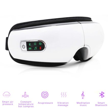 Olho cuidado bluetooth olhos massageador vibração spa música elétrica dobrável instrumento de aquecimento pressão ar fadiga olho massagem / BestDealPlus