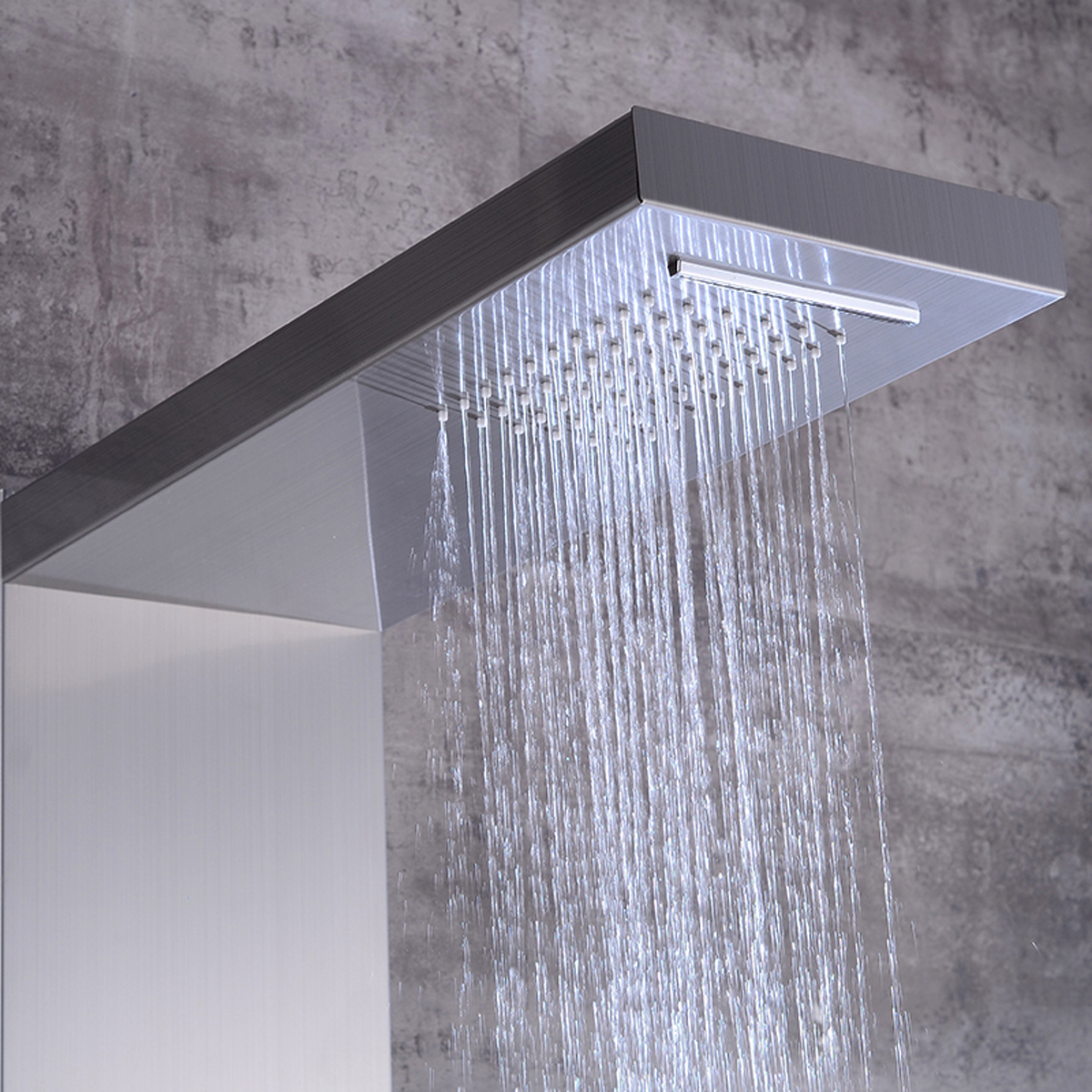Brushed Nickel Thermostatic Shower Column Panel Waterfall Rainfall Shower Faucet Head