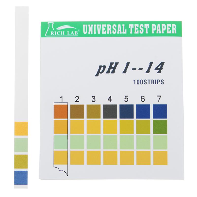 شرائط اختبار Ph العالمي مجموعة كاملة من 1 14 المؤشر ورقة اختبار 100 شرائط محاصر ث لون الرسم البياني