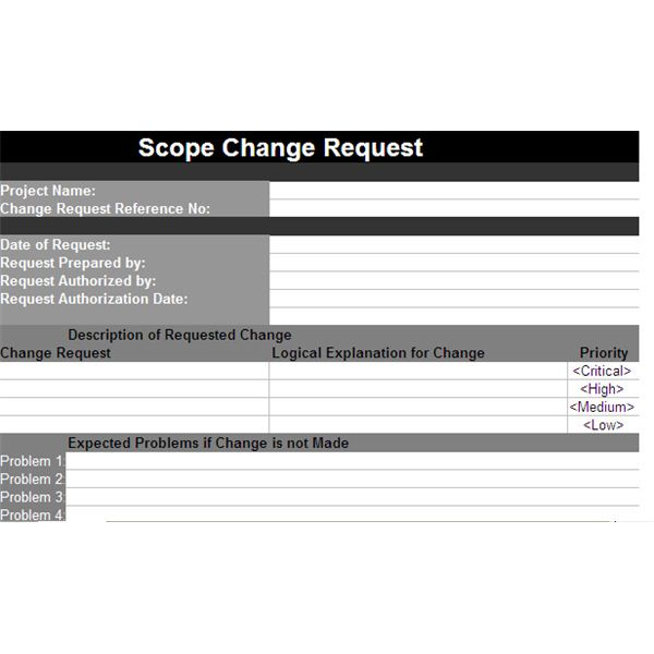 A Scope Change Template For Projects