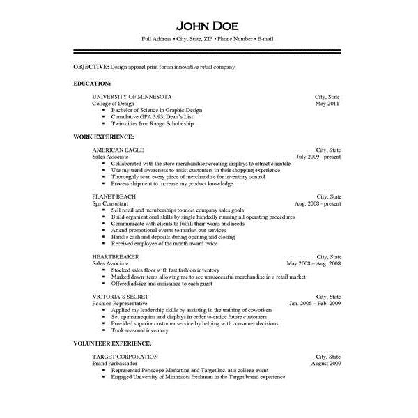 Examples Of Current Resumes. Current College Student Resume