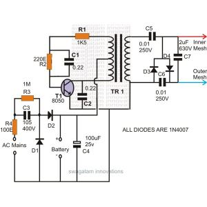 Mosquito Zapper Circuit Diagram and Theory of Operation