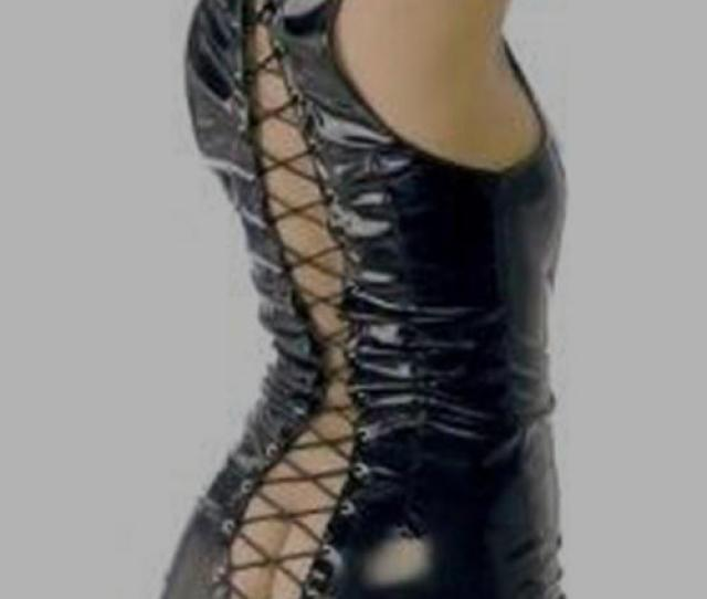 Sexy Pvc Dress With Adjustable Lace Up Back