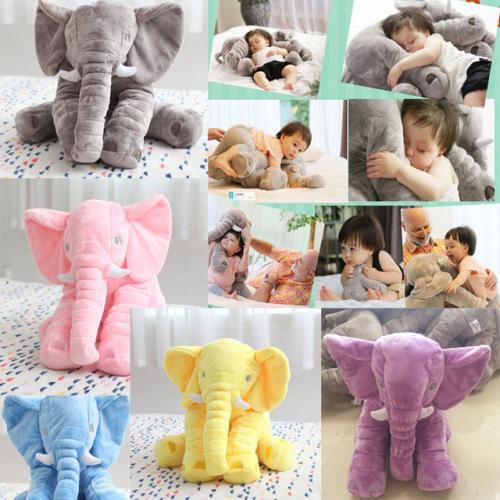 60cm baby sleeping pillow custom stuffed short plush fabric elephant plush toy