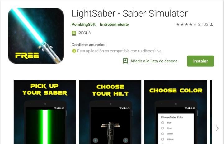 Una de las apps más frikis imita la espada de 'Star Wars'