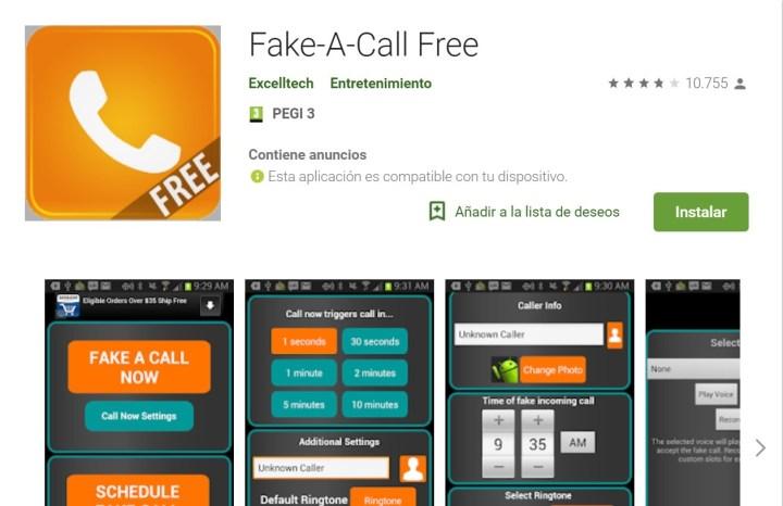 fake a call, unade las apps más frikis
