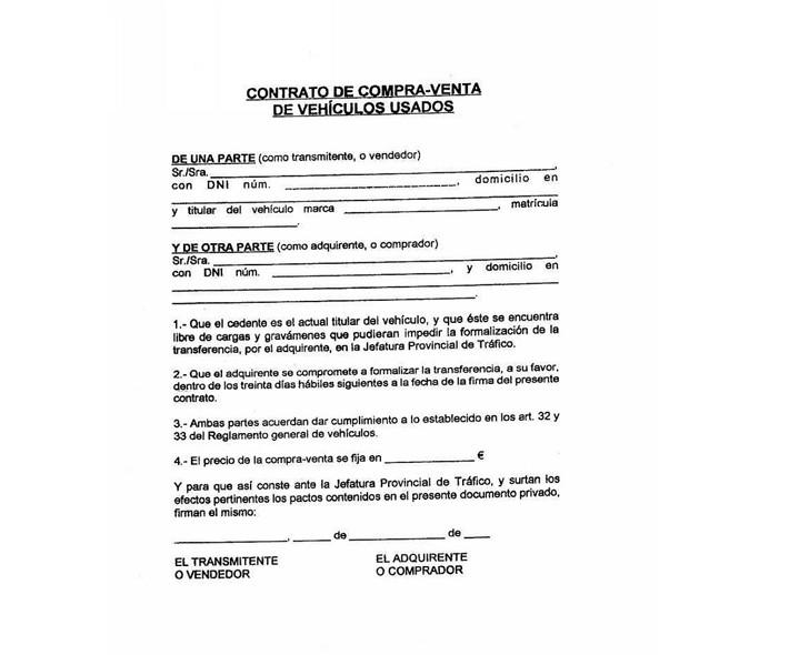 Contrato De Compra Venta De Vehiculos Usados