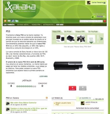 página de producto xataka: ps3