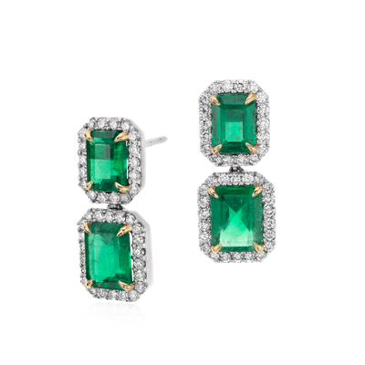 Emerald Cut Emerald Diamond Pav Drop Earrings In 18k