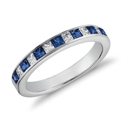 Channel Set Princess Cut Sapphire And Diamond Ring In 14K