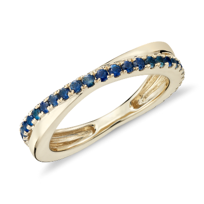 Sapphire Infinity Eternity Ring In 14k Yellow Gold 15mm