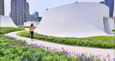 台中打卡景點》台中國家歌劇院頂樓花園,白色圓頂山丘花園好夢幻,台中一日遊散散步好去處
