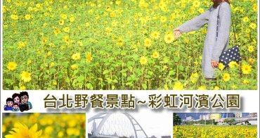 【 台北賞花野餐景點 】彩虹河濱公園 千坪向日葵花海現正開放,有如明信片般風景畫