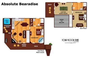 Floor Plan at Absolute Bearadise in Sky Harbor TN