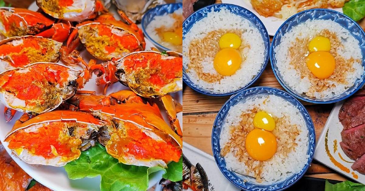 台南燒烤。台南必吃美食炭烤紅蟳|雙蛋豬油拌飯|聚餐小酌首選