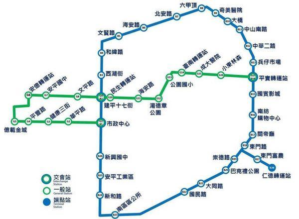 【台南捷運 高架輕量單軌】獲行政院支持 綠線(府城橫貫線)及藍線(中華環線) 原預計完工日期2025年可望提前
