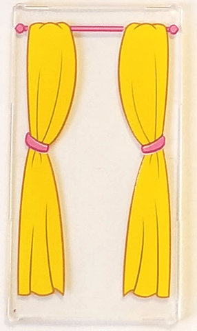 pink curtain rod and yellow curtains