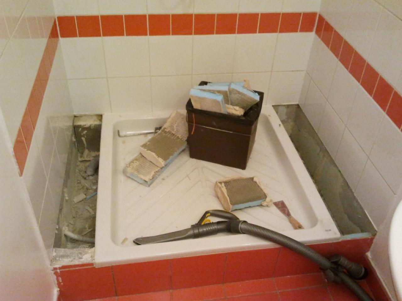 carrelage autour du receveur de douche