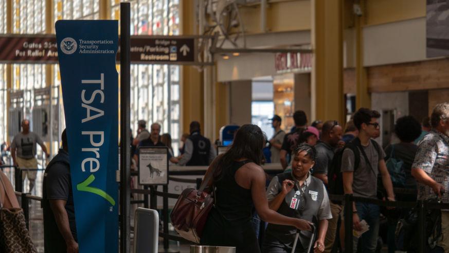 Passengers passing through airport security