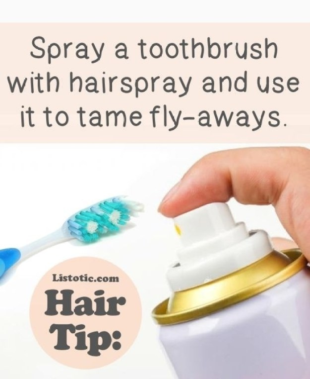 Quickly tame flyaway strands with a toothbrush.