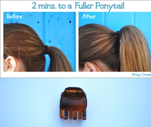 Make your ponytail look fuller with a hidden butterfly clip.