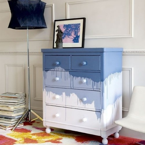 Dresser Decor Blue Ombre Drawers White Chest of Drawers Floor Lamp Artwork Sculpture Magazines Area Rug DIY