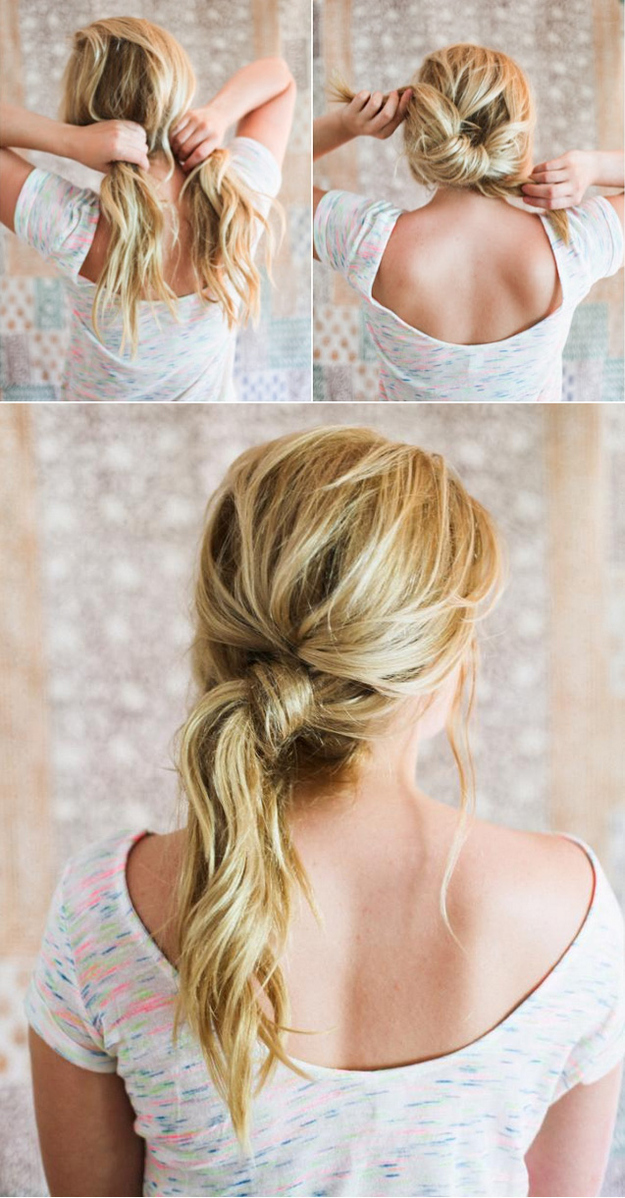 The messy knot hairdo will take your ponytail to the next level.