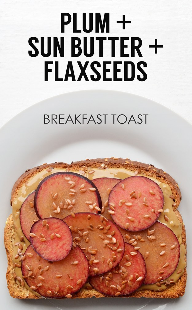 Sliced Plums + Sunflower Seed Butter + Flaxseed