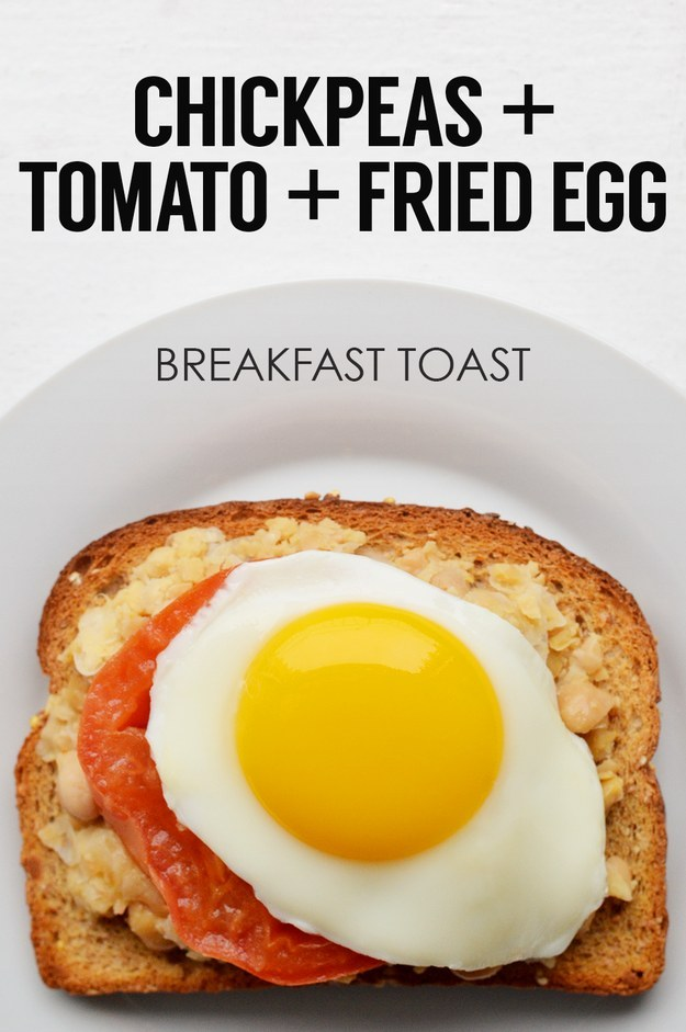 Mashed Chickpeas + Tomato Slice + Fried Egg