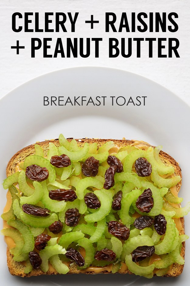 Thinly Sliced Celery + Raisins + Peanut Butter