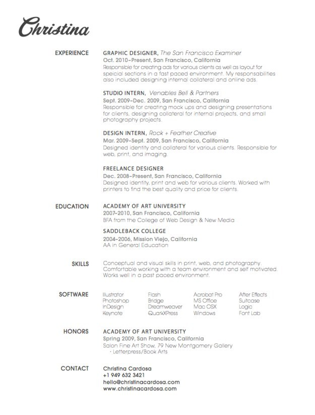 choose your fonts wisely designer resume designer resume design font