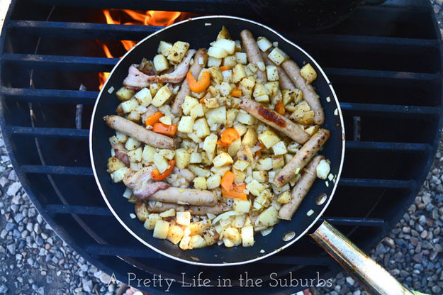 Add everything to a skillet, cover, and cook. Recipe here.