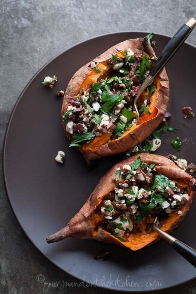 Baked Feta-Stuffed Sweet Potatoes