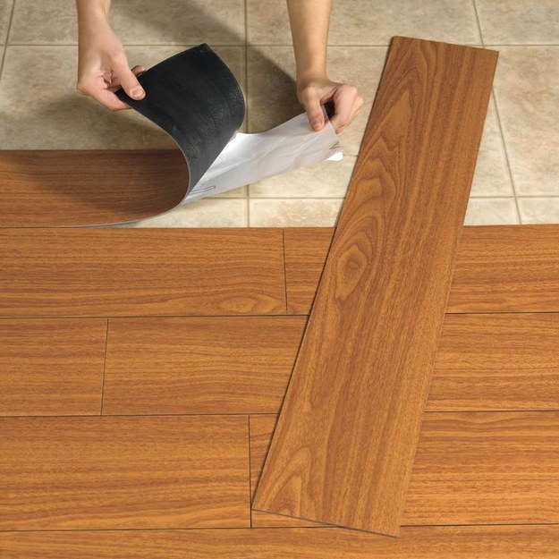 Update those ugly floors with vinyl plank flooring.