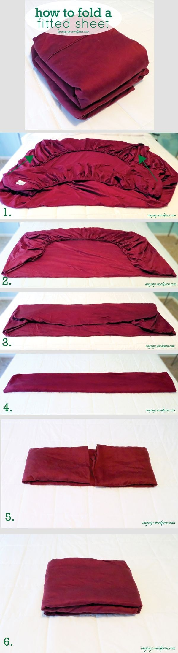 How to (finally) organize your linen closet - folding a dreaded fitted sheet