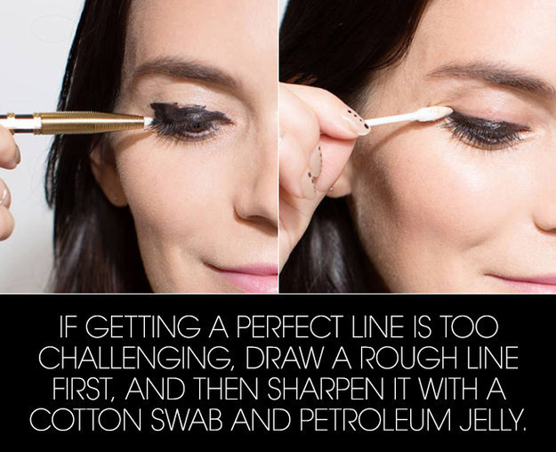 Start by drawing a messy line, then clean it up with a little petroleum jelly.
