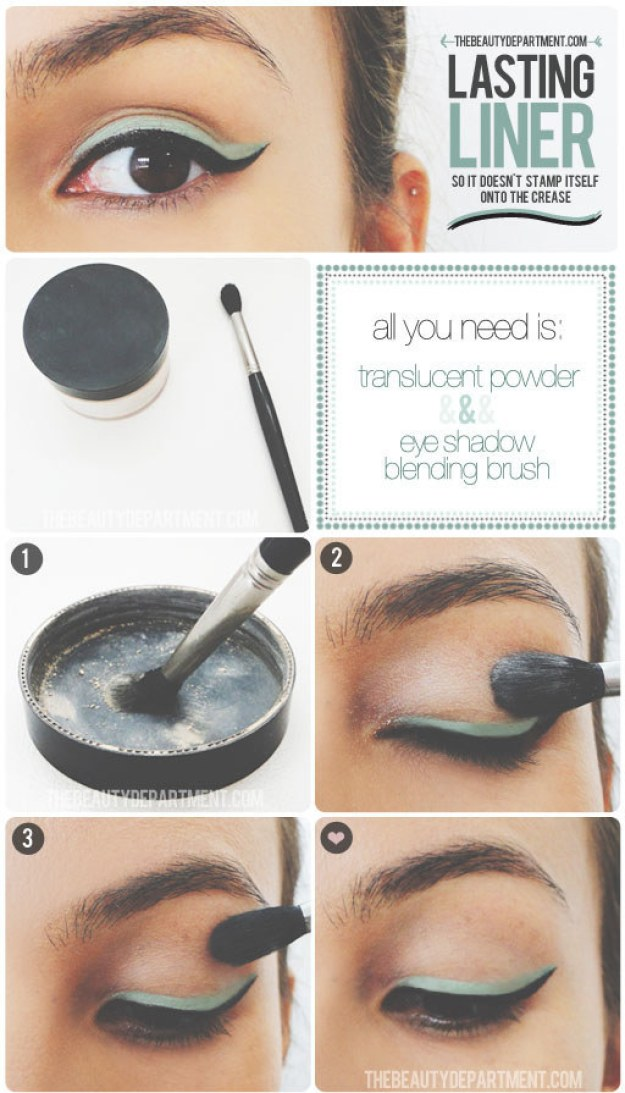 Once you have your eyeliner where you want it, prevent the dreaded crease stamp with the help of a little translucent powder.