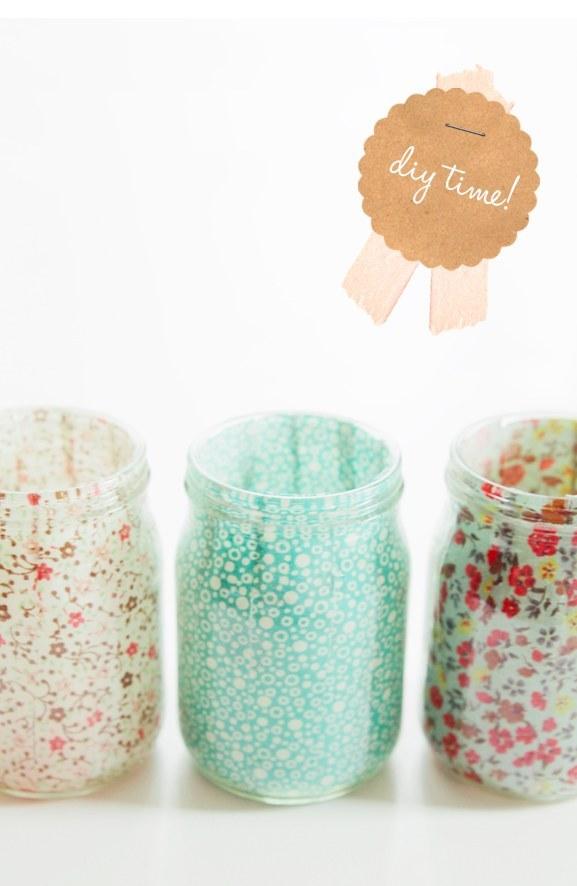 Fabric Lined Mason Jars Tutorial